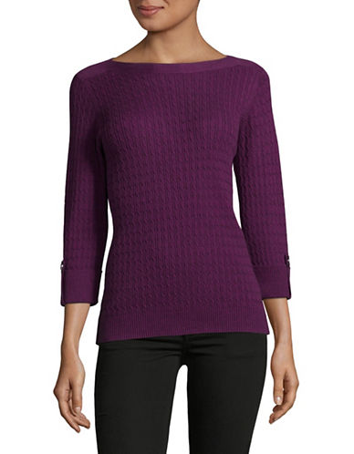 Karen Scott Marled Cable Sweater-PURPLE-Small