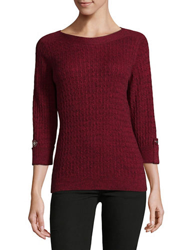 Karen Scott Marled Cable Sweater-RED-Large