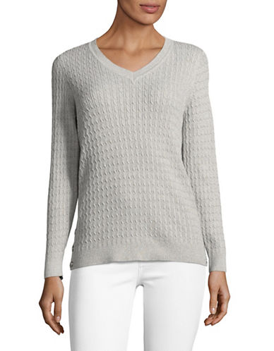 Karen Scott Marled Cable V-Neck Sweater-GREY-Large