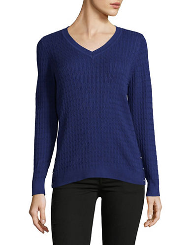 Karen Scott Marled Cable V-Neck Sweater-BLUE-Large