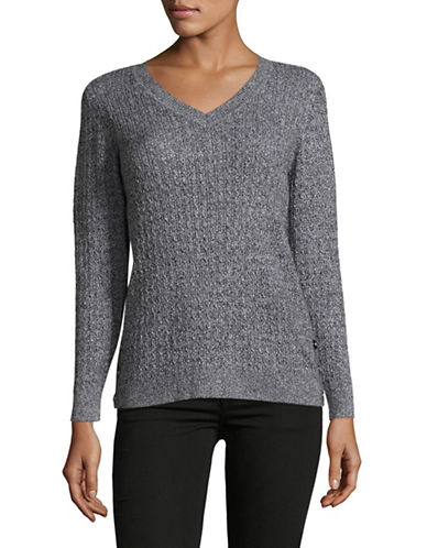 Karen Scott Marled Cable V-Neck Sweater-HEATHER GREY-Large