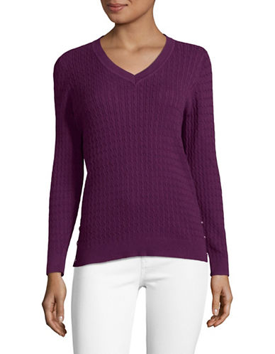 Karen Scott Marled Cable V-Neck Sweater-PURPLE-X-Large