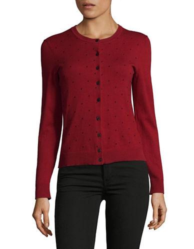 Karen Scott Petite Textured Dot Cardigan-RED-Petite Small