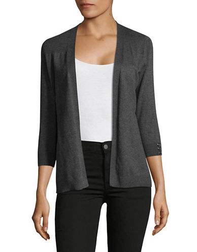 Karen Scott Petite Three-Quarter Sleeve Cardigan-GREY-Petite Large