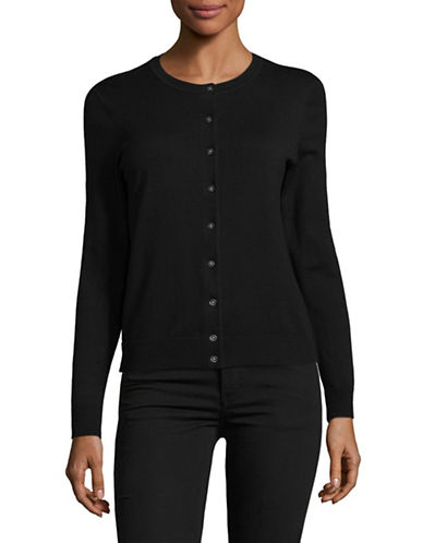 Karen Scott Petite Buttoned Sweater-BLACK-Petite Small