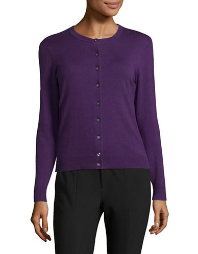 Karen Scott Petite Buttoned Sweater-PURPLE-Petite Large