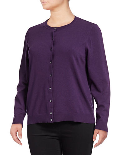 Karen Scott Plus Buttoned Sweater-PURPLE-2X