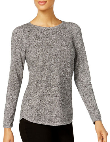 Karen Scott Petite Space Dye Crew Neck Sweater-GREY-Petite X-Small
