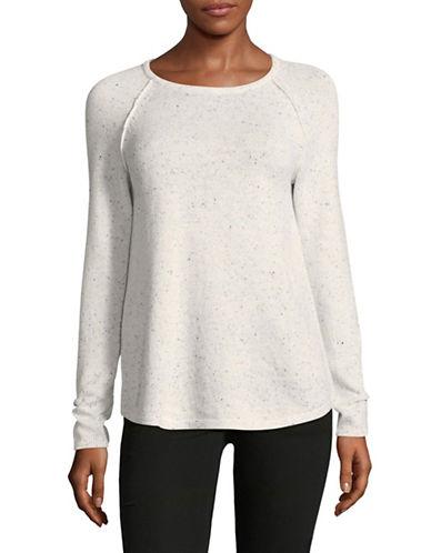 Karen Scott Petite Speckled Cotton Sweater-WHITE-Petite Medium