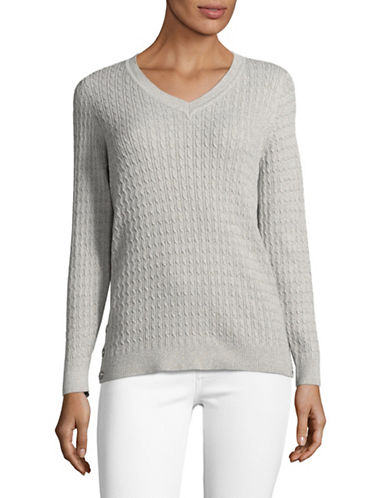 Karen Scott Petite Side-Button Cable Knit Sweater-SMOKE-Petite X-Small