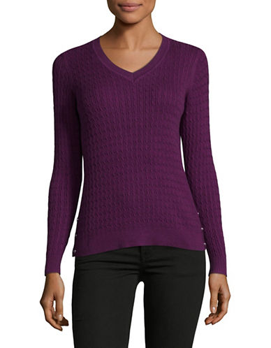 Karen Scott Petite Side-Button Cable Knit Sweater-PURPLE-Petite X-Large