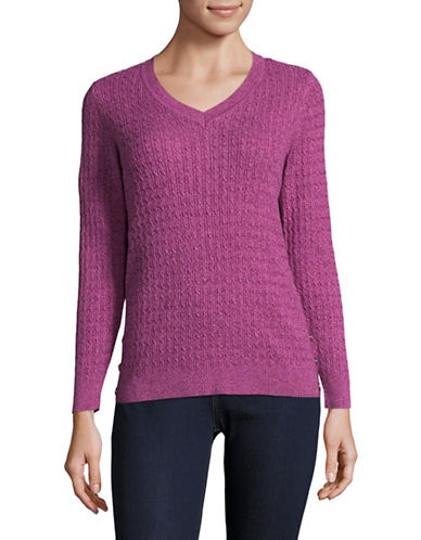 Karen Scott Petite Side-Button Cable Knit Sweater-PINK-Petite X-Large