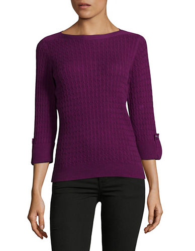 Karen Scott Petite Three-Quarter Sleeve Top-PURPLE-Petite Small