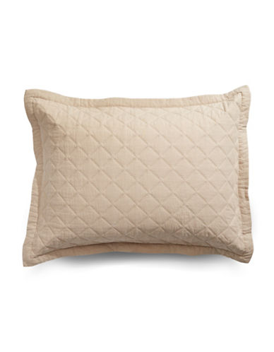 Martha Stewart Broadstitch Linen-Cotton Pillow Sham-TAN-Standard