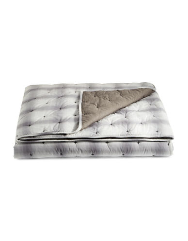 Martha Stewart Plaid Mist Cotton Quilt-GREY-King