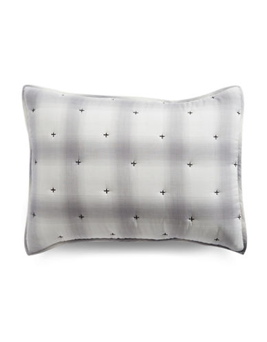 Martha Stewart Studded Plaid Pillow Sham-GREY-Standard