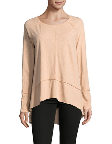 Style And Co. Rolled Seam Hi-Lo Top-BLUSH-Large