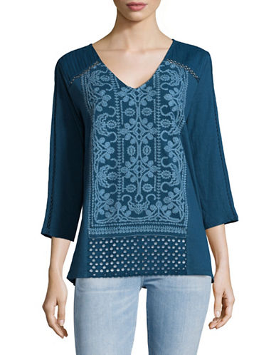 Style And Co. Embroidered V-Neck Tunic-TEAL-Medium