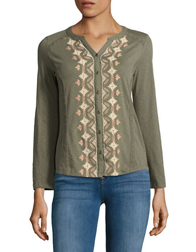 Style And Co. Petite Button Front Embroidered Top-OLIVE-Petite X-Small