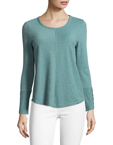 Style And Co. Petite Buttoned Cuff Top-TEAL-Petite X-Small