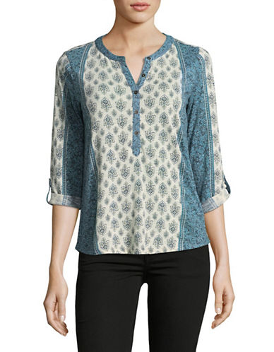 Style And Co. Petite Floral Pintuck Lace Accent Top-GREY-Petite Medium