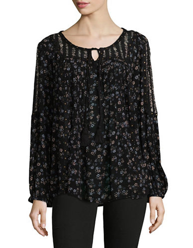 Style And Co. Sheer Floral Tunic-BLACK-Medium