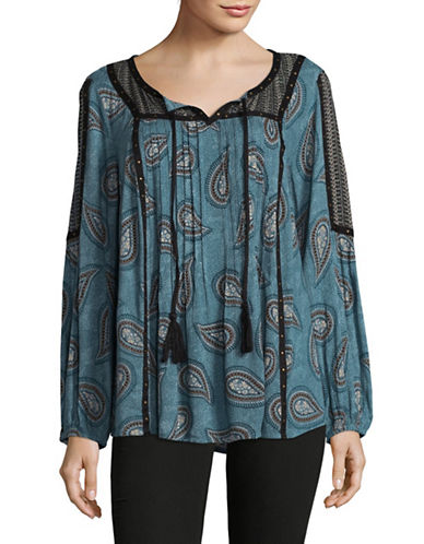 Style And Co. Sheer Paisley Tunic-BLUE-Large