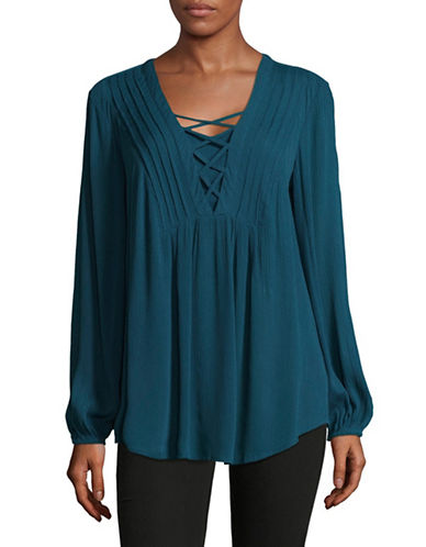 Style And Co. Lace-Up Tunic-BLUE-Medium