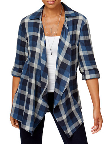 Style And Co. Plaid Open-Front Cardigan-BLUE-Small