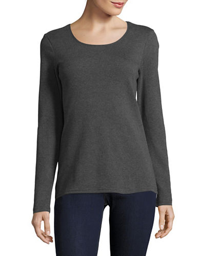 Karen Scott Plain Cotton Sweater-GREY-X-Large