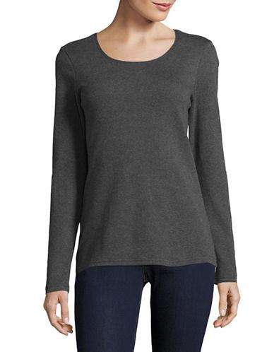 Karen Scott Plain Cotton Sweater-GREY-XX-Large
