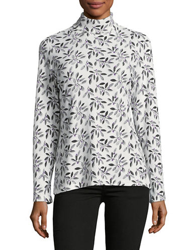 Karen Scott Leafy Luxe Turtleneck-BLACK MULTI-X-Large