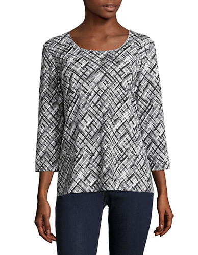 Karen Scott Abstract Print Shirt-GREY MULTI-X-Large