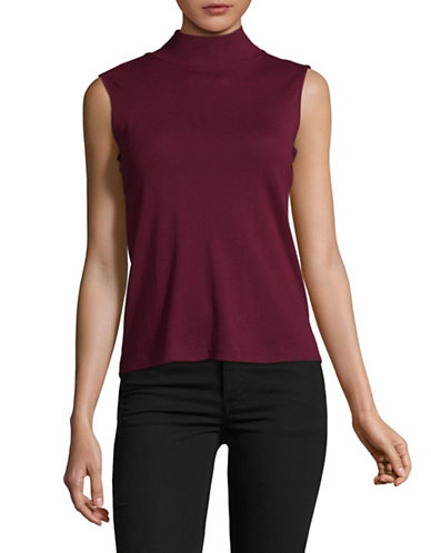 Karen Scott Petite Mock Neck Tank Top-RED-Petite X-Small
