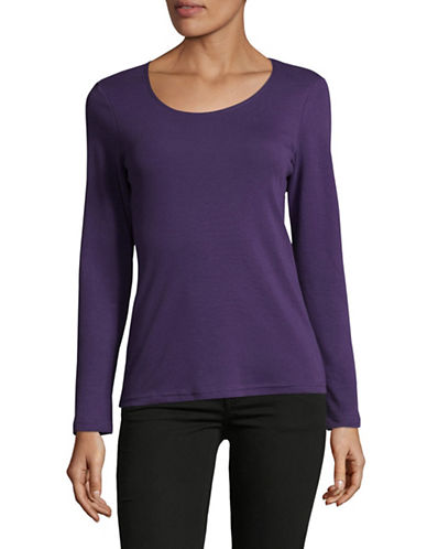 Karen Scott Petite Long Sleeve Scoop Neck Top-PURPLE-Petite X-Small