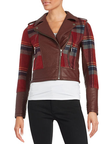 Design Lab Lord & Taylor Faux Leather and Plaid Knit Moto Jacket-RED-X-Small 88665392_RED_X-Small