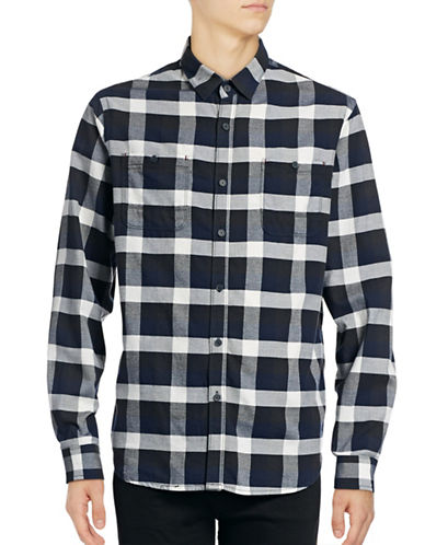 Howe Checkered Utility Shirt-BLACK-Large