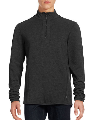 Howe Reversible Mock Zip Sweatshirt-BLACK-Large