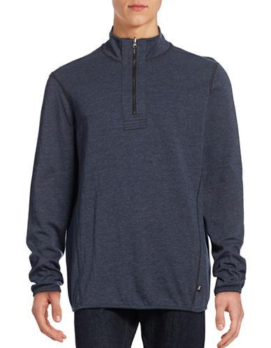 Howe Reversible Mock Zip Sweatshirt-BLUE-Large