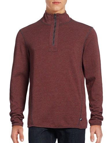 Howe Reversible Mock Zip Sweatshirt-RED-Large