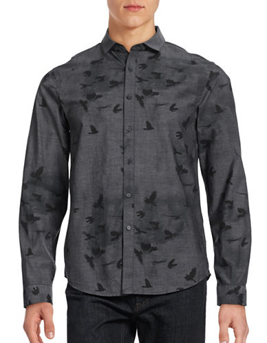 Howe Printed Woven Sport Shirt-BLACK-Large