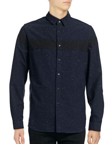 Howe Colourblocked Speckle Shirt-NAVY-Large
