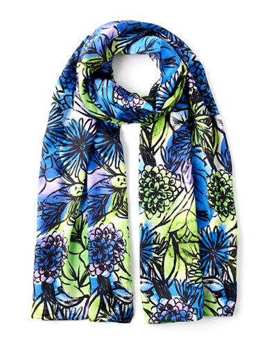 Echo Floral Printed Oblong Scarf-BLUE-One Size