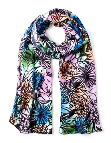 Echo Floral Printed Oblong Scarf-PURPLE-One Size