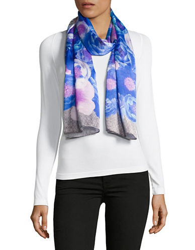 Echo Paris Floral Oblong Scarf-BLUE-One Size