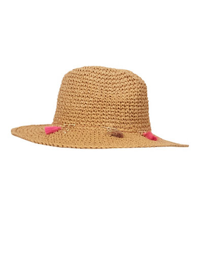 Echo Jewelry Tassel Panama Hat-BROWN-One Size