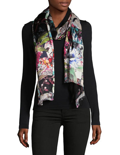 Echo Silk-Blend Floral-Print Wrap-BLACK-One Size