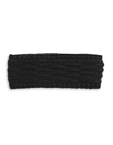 Echo Cross Cable-Knit Headband-BLACK-One Size