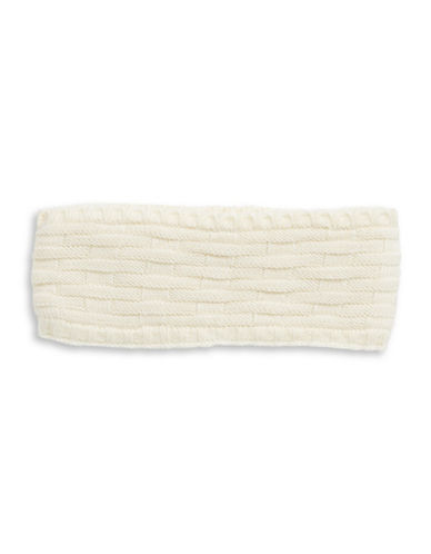 Echo Cross Cable-Knit Headband-WHITE-One Size