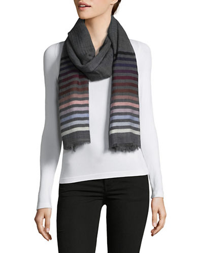 Echo Striped Cotton Wrap-GREY-One Size